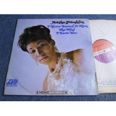 ARETHA FRANKLIN - I NEVER LOVED A MAN THE WAY I LOVE YOU LP - VG A1/B1 UK MONO ATLANTIC PLUM LABEL